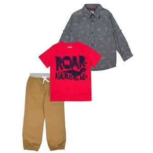Boys 3 piece set; Button up, Tee & khaki pants
